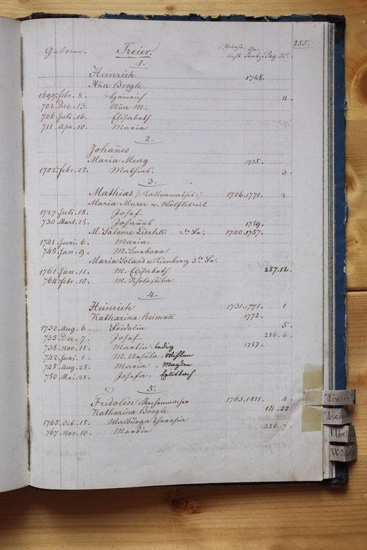 Original-Familienbuch von 1846: Seite 255