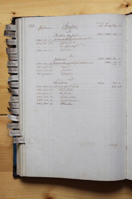 Original-Familienbuch von 1846: Seite 248
