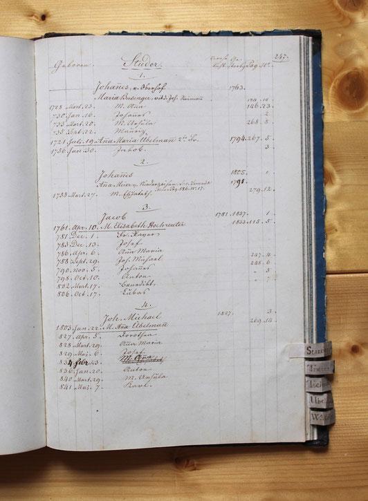 Original-Familienbuch von 1846: Seite 247