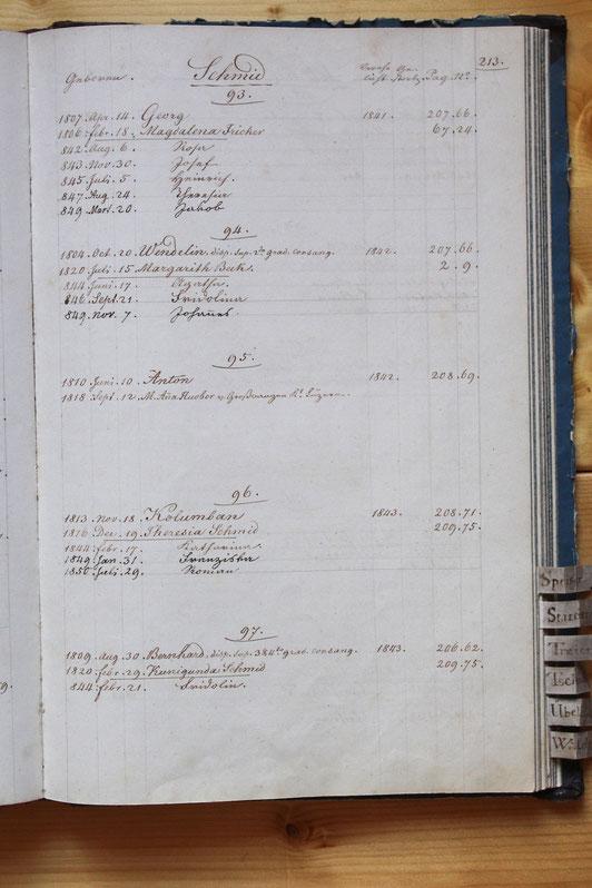 Original-Familienbuch von 1846: Seite 213