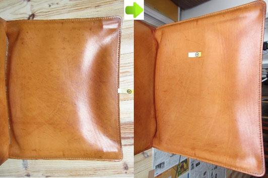 Cassina(カッシーナ)の革張りチェア(CAB(キャブ)シリーズ)のクリーニング(汚れ落とし)前後の比較写真アップ③