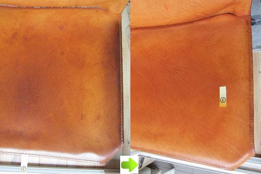 Cassina(カッシーナ)の革張りチェア(CAB(キャブ)シリーズ)のクリーニング(汚れ落とし)前後の比較写真アップ⑤