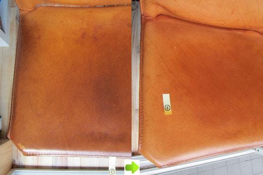 Cassina(カッシーナ)の革張りチェア(CAB(キャブ)シリーズ)のクリーニング(汚れ落とし)前後の比較写真アップ④