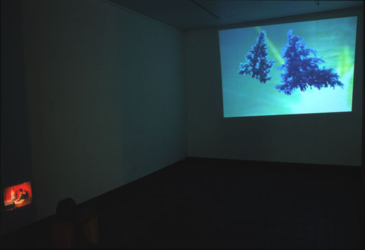 installation view of  'a lie before breakfast '  at popotame,Tokyo 23min 25sec     2006 video