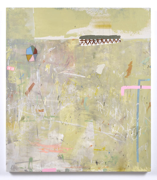 """Running Water, Acrylic, drawing media & collage on panel, 34""""x 30"""", 2019. Not available"""