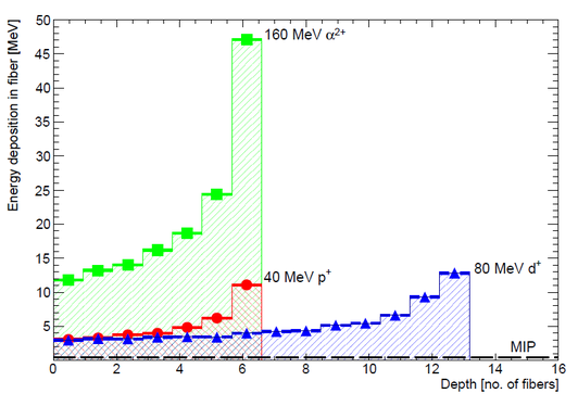 Bragg curve of different particles in the detector.