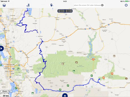 unsere gefahrene Route im nördlichen Utah