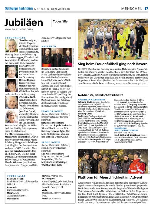 Salzburger Nachrichten 2017-12-18