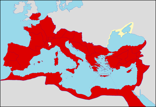 La bataille de Corinthe, en 146 av J-C, aboutit à la destruction totale de Corinthe par les Romains et marque le début de la période de domination romaine dans l'histoire grecque. Rome domine le pourtour méditerranéen aux débuts du christianisme.