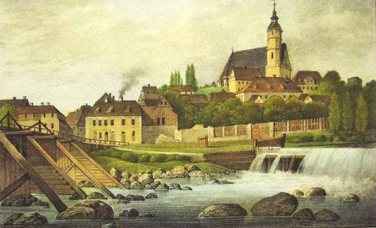 Penig um 1850 vom Alt-Peniger Ufer aus mit der Muldenbrücke und Stadtkirche