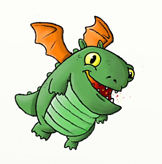 Et voici le dessin d'un bébé dragon ! J'ai aussi fait une petite animation où il crache des étincelles car il sait pas encore cracher du feu...