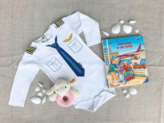 """Baby Strampler """"PILOT"""" mit Kuscheltier und Buch über den Flughafen"""