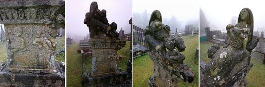 """La stèle de Jean Cacaud vue sous tous les angles. En bas du socle où on le voit sculptant était gravé """"FAMILLE CAUCAUD"""", inscription aujourd'hui disparue à cause de l'usure."""