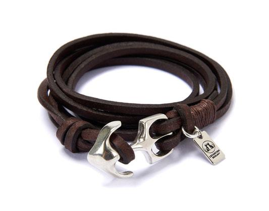Maritimes Anker Armband aus Leder in Braun und handgefertigter Ankerschließe