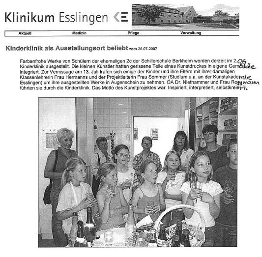 Quelle: Klinikum Esslingen Juli 2007