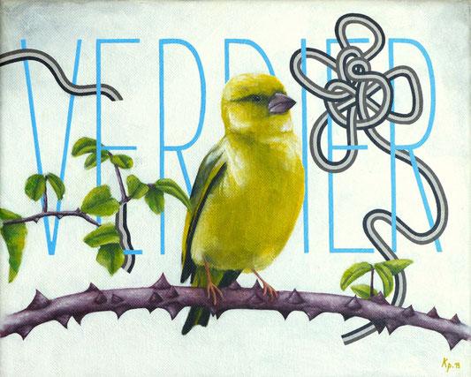 Kitsch, paradise, artisan, créateur, art, nature, toile, peinture, acrylique, verdier, oiseau