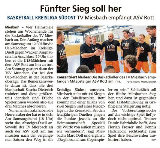 Artikel im Miesbacher Merkur am 16.11.2019 - Zum Vergrößern klicken