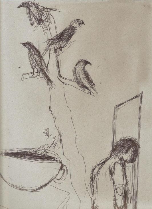 Stylo noir sur papier, 34x25 cm (extrait) / collection particulière