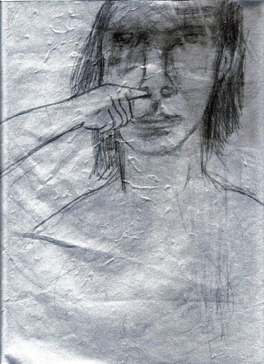 mine de plomb sur papier artisanal argenté, 30x25 cm