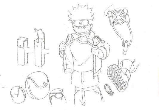 Model sheet dei particolari di Naruto Uzumaki