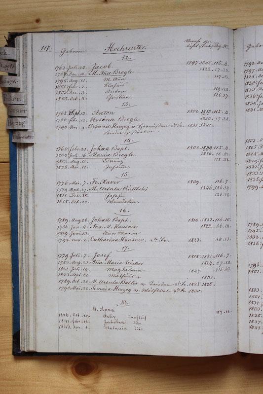 Original-Familienbuch von 1846: Seite 117