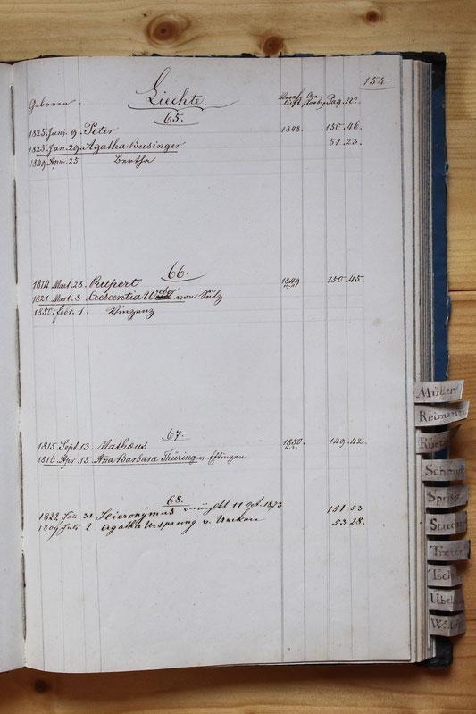 Original-Familienbuch von 1846: Seite 154