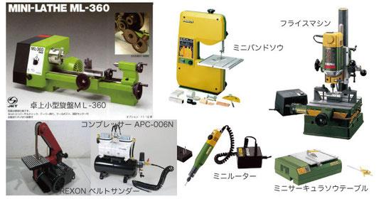 立体イラストに使用する工作機械。