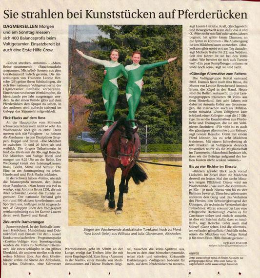Voranzeige vom 3. Juni 2016 in der Neuen Luzerner Zeitung  - Bild zum vergrössern anklicken