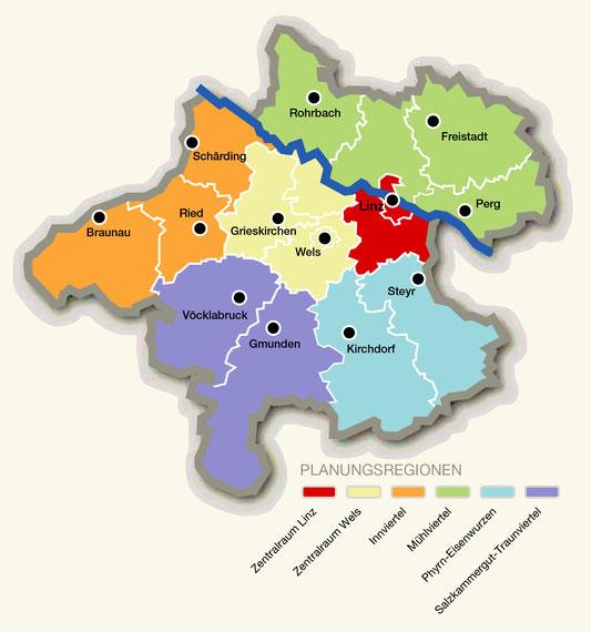 Bild von einer Landkarte, die die sechs Regionen zeigt