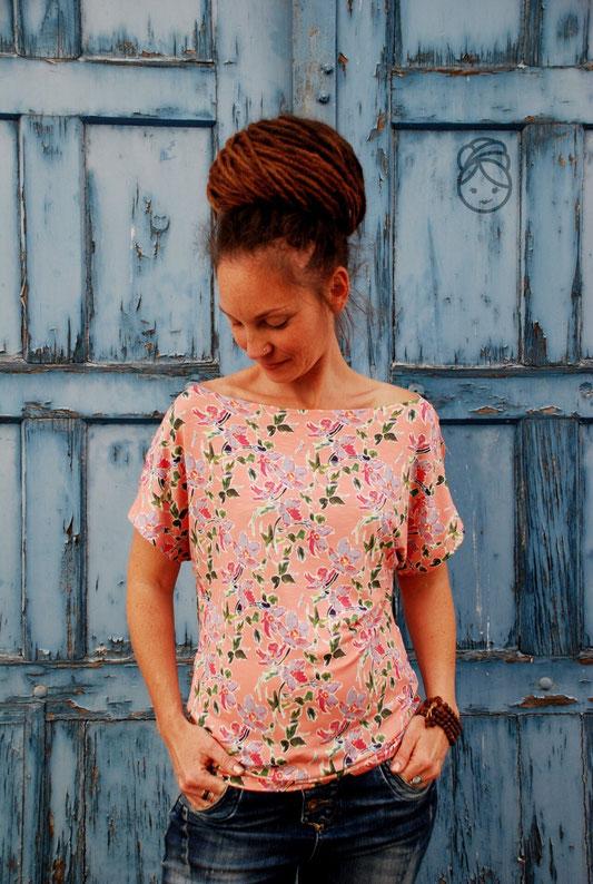 Katjuschka - Miss MaliMala  - Slub Jersey Levi - apricot - Designbeispiel - Swafing Stoffe - Wasserfall Shirt
