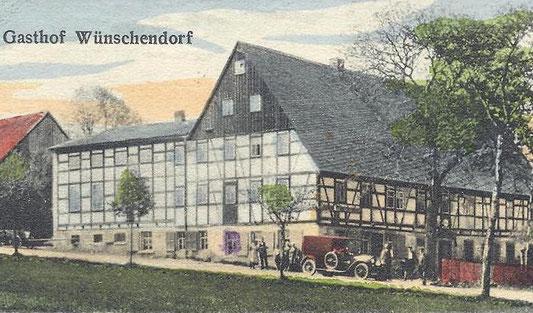 Bild: Teichler Gasthof Wünschendorf Erzgebirge Postkarte 1920