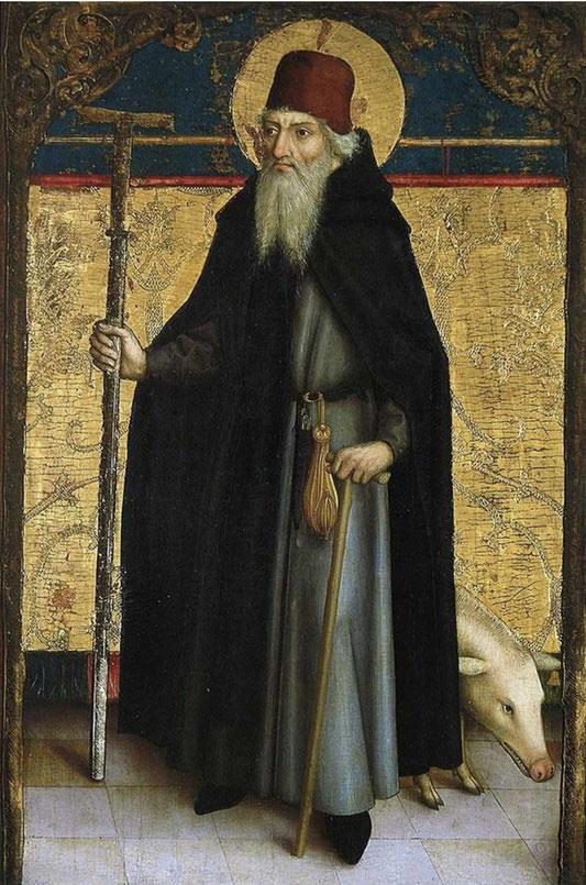 Der heilige Antonius als Abt mit seinem Wahrzeichen, dem Antoniusschwein