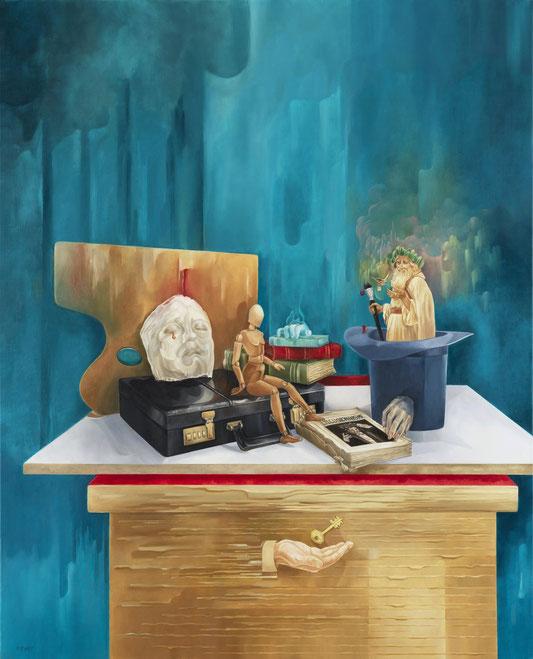 La Magie de l'Art.  Huile sur Toile. 81 x 100 cm. Exposée dans le stand des Maxi-Réalistes au Salon Comparaisons, Février 2020. Musée du Grand Palais. Paris.