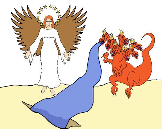 La grande tribulation qui mettra la fidélité des humains envers Dieu à rude épreuve durera 3 ans et demi. Après cette période très difficile, la terre, c'est-à-dire la partie stable et démocratique de l'humanité, viendra au secours des fidèles chrétiens.