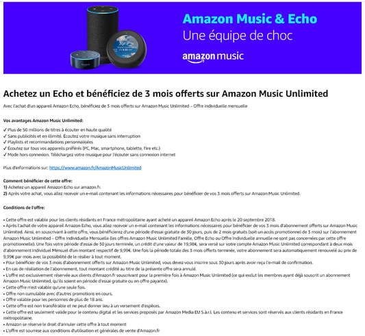 Amazon Music & Eco : Amazon Music Unlimited : 3 mois offerts - Promotion sur la gamme Amazon Echo : Echo, Echo Plus, Echo Dot, Echo Spot, Section Bons Plans - Promos :  www.2bamboo.jimdo.fr