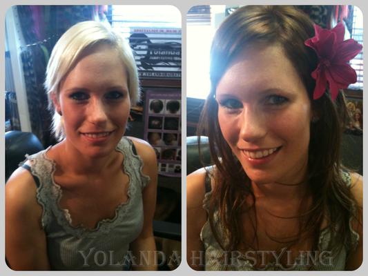 Yvonne's metamorfose. Van kort blond naar langharige brunette dankzij de microring extensions