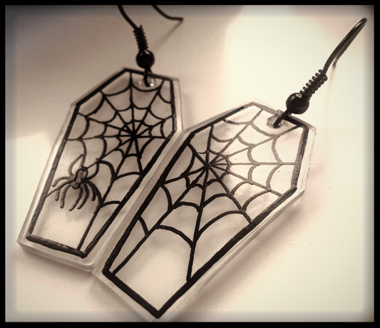 Spider Web Coffin Earrings | Spooky Gothic Halloween Fashion