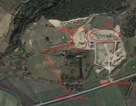 Veduta dal satellite della cava con l'ubicazione dei punti notevoli.
