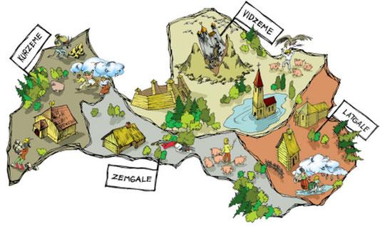 Travel to Latvia, map