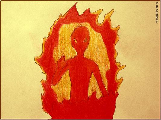 """Das einzige an das sich das Opfer erinnern konnte: """"Ein Mann in Flammen"""". So in etwa soll der unheimliche """"Mann"""" ausgesehen haben."""