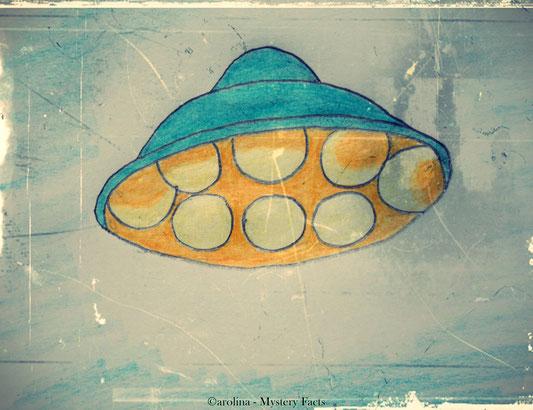 Als das UFO kurz zur Seite schwang, konnte der Zeuge Paul Green komische, leuchtende Kugeln an der Unterseite des Objekt erkennen.