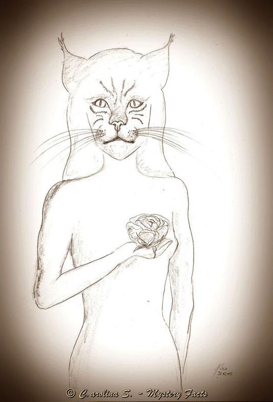 Eine wunderschöne Katzen-Gestalt mit einer Rosenblüte in der Hand. Eine Vorahnung?
