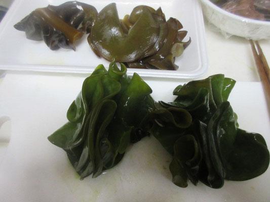 熱湯に入れるとたちまち緑色に、、、、、。