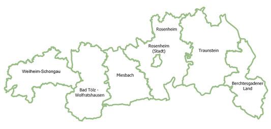 """Landkarte der am Projekt """"Apfel-Birne-Berge"""" beteiligten Landkreise"""