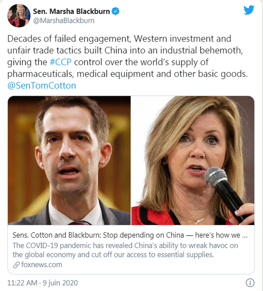 A tweet from Marsha Blackburn (Republican senator from Tennessee) shared by Donald Trump. The Republican Party took on demonizing China during the pandemic