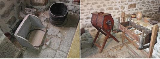 1ère maison de François Michaud : selle à laver, cuveau, baratte, berceau
