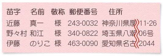 メールソフトで作った名前リストに郵便番号と住所の指示を追加した例