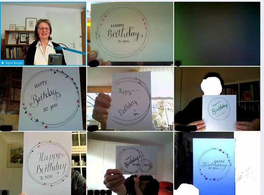 Kalligraphiekurs Ergebnisse Schöne Geburtstagskarten