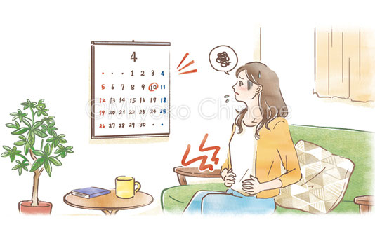 生理痛に悩む女性のイラスト