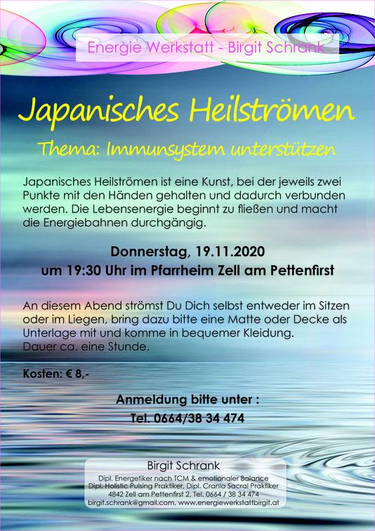 Japanisches Heilströmen - Immunsystem unterstützen, 19.11.2020 um 19:30 Uhr im Pfarrheim Zell am Pettenfirst